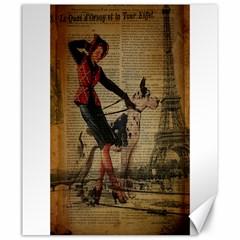 Paris Girl And Great Dane Vintage Newspaper Print Sexy Hot Gil Elvgren Pin Up Girl Paris Eiffel Towe Canvas 20  X 24  (unframed) by chicelegantboutique