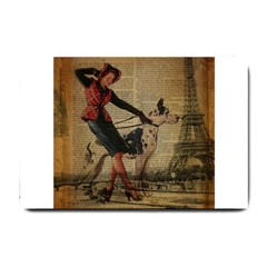 Paris Girl And Great Dane Vintage Newspaper Print Sexy Hot Gil Elvgren Pin Up Girl Paris Eiffel Towe Small Door Mat by chicelegantboutique