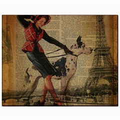Paris Girl And Great Dane Vintage Newspaper Print Sexy Hot Gil Elvgren Pin Up Girl Paris Eiffel Towe Canvas 11  X 14  (unframed) by chicelegantboutique