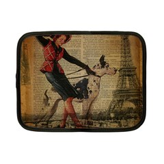 Paris Girl And Great Dane Vintage Newspaper Print Sexy Hot Gil Elvgren Pin Up Girl Paris Eiffel Towe Netbook Case (small) by chicelegantboutique