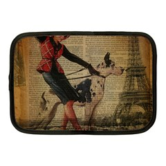 Paris Girl And Great Dane Vintage Newspaper Print Sexy Hot Gil Elvgren Pin Up Girl Paris Eiffel Towe Netbook Case (medium) by chicelegantboutique