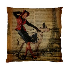 Paris Girl And Great Dane Vintage Newspaper Print Sexy Hot Gil Elvgren Pin Up Girl Paris Eiffel Towe Cushion Case (single Sided)  by chicelegantboutique