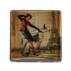 Paris Girl And Great Dane Vintage Newspaper Print Sexy Hot Gil Elvgren Pin Up Girl Paris Eiffel Towe Memory Card Reader With Storage (square) by chicelegantboutique