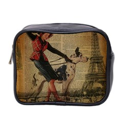 Paris Girl And Great Dane Vintage Newspaper Print Sexy Hot Gil Elvgren Pin Up Girl Paris Eiffel Towe Mini Travel Toiletry Bag (two Sides) by chicelegantboutique