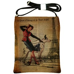 Paris Girl And Great Dane Vintage Newspaper Print Sexy Hot Gil Elvgren Pin Up Girl Paris Eiffel Towe Shoulder Sling Bag by chicelegantboutique