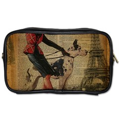 Paris Girl And Great Dane Vintage Newspaper Print Sexy Hot Gil Elvgren Pin Up Girl Paris Eiffel Towe Travel Toiletry Bag (two Sides) by chicelegantboutique