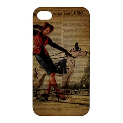 Paris Girl And Great Dane Vintage Newspaper Print Sexy Hot Gil Elvgren Pin Up Girl Paris Eiffel Towe Apple Iphone 4/4s Hardshell Case by chicelegantboutique