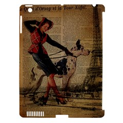 Paris Girl And Great Dane Vintage Newspaper Print Sexy Hot Gil Elvgren Pin Up Girl Paris Eiffel Towe Apple Ipad 3/4 Hardshell Case (compatible With Smart Cover) by chicelegantboutique