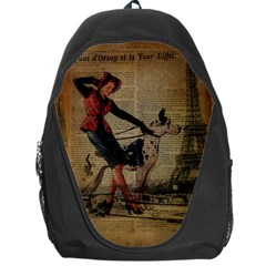 Paris Girl And Great Dane Vintage Newspaper Print Sexy Hot Gil Elvgren Pin Up Girl Paris Eiffel Towe Backpack Bag by chicelegantboutique