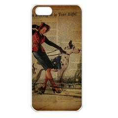 Paris Girl And Great Dane Vintage Newspaper Print Sexy Hot Gil Elvgren Pin Up Girl Paris Eiffel Towe Apple Iphone 5 Seamless Case (white) by chicelegantboutique