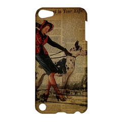 Paris Girl And Great Dane Vintage Newspaper Print Sexy Hot Gil Elvgren Pin Up Girl Paris Eiffel Towe Apple Ipod Touch 5 Hardshell Case by chicelegantboutique