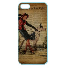 Paris Girl And Great Dane Vintage Newspaper Print Sexy Hot Gil Elvgren Pin Up Girl Paris Eiffel Towe Apple Seamless Iphone 5 Case (color) by chicelegantboutique