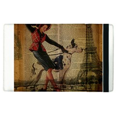 Paris Girl And Great Dane Vintage Newspaper Print Sexy Hot Gil Elvgren Pin Up Girl Paris Eiffel Towe Apple Ipad 3/4 Flip Case by chicelegantboutique