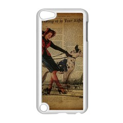 Paris Girl And Great Dane Vintage Newspaper Print Sexy Hot Gil Elvgren Pin Up Girl Paris Eiffel Towe Apple Ipod Touch 5 Case (white) by chicelegantboutique