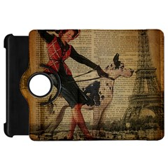 Paris Girl And Great Dane Vintage Newspaper Print Sexy Hot Gil Elvgren Pin Up Girl Paris Eiffel Towe Kindle Fire Hd 7  Flip 360 Case by chicelegantboutique