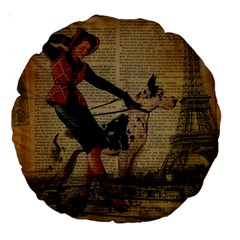 Paris Girl And Great Dane Vintage Newspaper Print Sexy Hot Gil Elvgren Pin Up Girl Paris Eiffel Towe 18  Premium Round Cushion  by chicelegantboutique