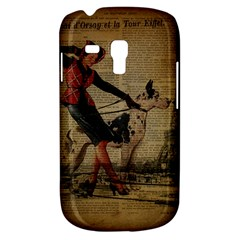 Paris Girl And Great Dane Vintage Newspaper Print Sexy Hot Gil Elvgren Pin Up Girl Paris Eiffel Towe Samsung Galaxy S3 Mini I8190 Hardshell Case by chicelegantboutique