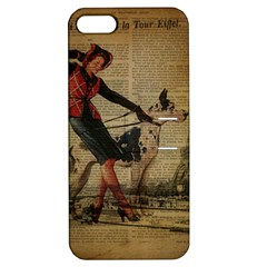 Paris Girl And Great Dane Vintage Newspaper Print Sexy Hot Gil Elvgren Pin Up Girl Paris Eiffel Towe Apple Iphone 5 Hardshell Case With Stand by chicelegantboutique