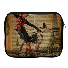 Paris Girl And Great Dane Vintage Newspaper Print Sexy Hot Gil Elvgren Pin Up Girl Paris Eiffel Towe Apple Ipad 2/3/4 Zipper Case by chicelegantboutique