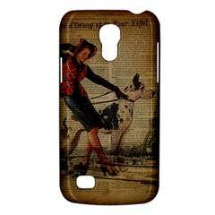 Paris Girl And Great Dane Vintage Newspaper Print Sexy Hot Gil Elvgren Pin Up Girl Paris Eiffel Towe Samsung Galaxy S4 Mini Hardshell Case  by chicelegantboutique