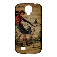 Paris Girl And Great Dane Vintage Newspaper Print Sexy Hot Gil Elvgren Pin Up Girl Paris Eiffel Towe Samsung Galaxy S4 Classic Hardshell Case (pc+silicone) by chicelegantboutique