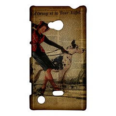 Paris Girl And Great Dane Vintage Newspaper Print Sexy Hot Gil Elvgren Pin Up Girl Paris Eiffel Towe Nokia Lumia 720 Hardshell Case by chicelegantboutique