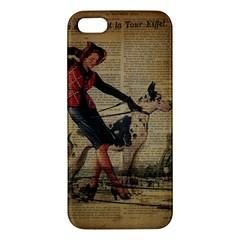 Paris Girl And Great Dane Vintage Newspaper Print Sexy Hot Gil Elvgren Pin Up Girl Paris Eiffel Towe Iphone 5s Premium Hardshell Case by chicelegantboutique