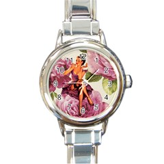 Cute Purple Dress Pin Up Girl Pink Rose Floral Art Round Italian Charm Watch by chicelegantboutique