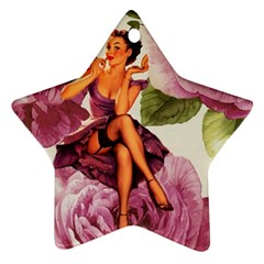 Cute Purple Dress Pin Up Girl Pink Rose Floral Art Star Ornament by chicelegantboutique