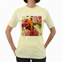 Cute Purple Dress Pin Up Girl Pink Rose Floral Art  Womens  T Shirt (yellow) by chicelegantboutique