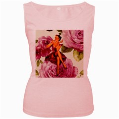 Cute Purple Dress Pin Up Girl Pink Rose Floral Art Womens  Tank Top (pink) by chicelegantboutique