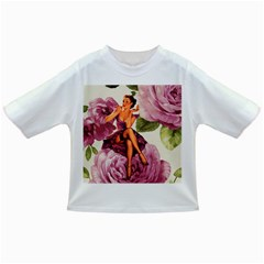 Cute Purple Dress Pin Up Girl Pink Rose Floral Art Baby T Shirt by chicelegantboutique