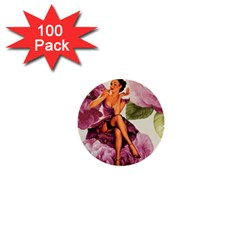 Cute Purple Dress Pin Up Girl Pink Rose Floral Art 1  Mini Button (100 Pack) by chicelegantboutique