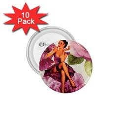 Cute Purple Dress Pin Up Girl Pink Rose Floral Art 1 75  Button (10 Pack)
