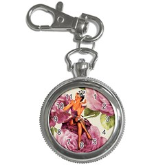 Cute Purple Dress Pin Up Girl Pink Rose Floral Art Key Chain & Watch by chicelegantboutique