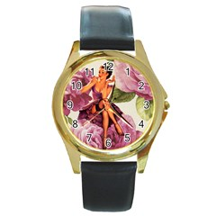 Cute Purple Dress Pin Up Girl Pink Rose Floral Art Round Metal Watch (gold Rim)  by chicelegantboutique