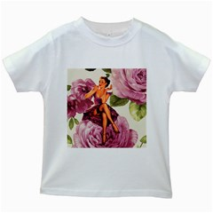 Cute Purple Dress Pin Up Girl Pink Rose Floral Art Kids' T Shirt (white) by chicelegantboutique