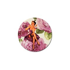 Cute Purple Dress Pin Up Girl Pink Rose Floral Art Golf Ball Marker 4 Pack