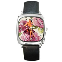 Cute Purple Dress Pin Up Girl Pink Rose Floral Art Square Leather Watch by chicelegantboutique