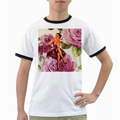 Cute Purple Dress Pin Up Girl Pink Rose Floral Art Mens' Ringer T-shirt by chicelegantboutique