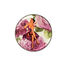 Cute Purple Dress Pin Up Girl Pink Rose Floral Art Golf Ball Marker (for Hat Clip) by chicelegantboutique