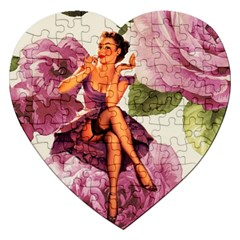 Cute Purple Dress Pin Up Girl Pink Rose Floral Art Jigsaw Puzzle (heart) by chicelegantboutique