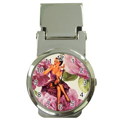 Cute Purple Dress Pin Up Girl Pink Rose Floral Art Money Clip With Watch by chicelegantboutique