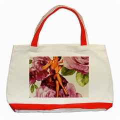 Cute Purple Dress Pin Up Girl Pink Rose Floral Art Classic Tote Bag (red) by chicelegantboutique