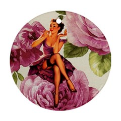 Cute Purple Dress Pin Up Girl Pink Rose Floral Art Round Ornament (two Sides) by chicelegantboutique