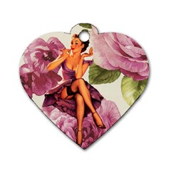 Cute Purple Dress Pin Up Girl Pink Rose Floral Art Dog Tag Heart (two Sided) by chicelegantboutique