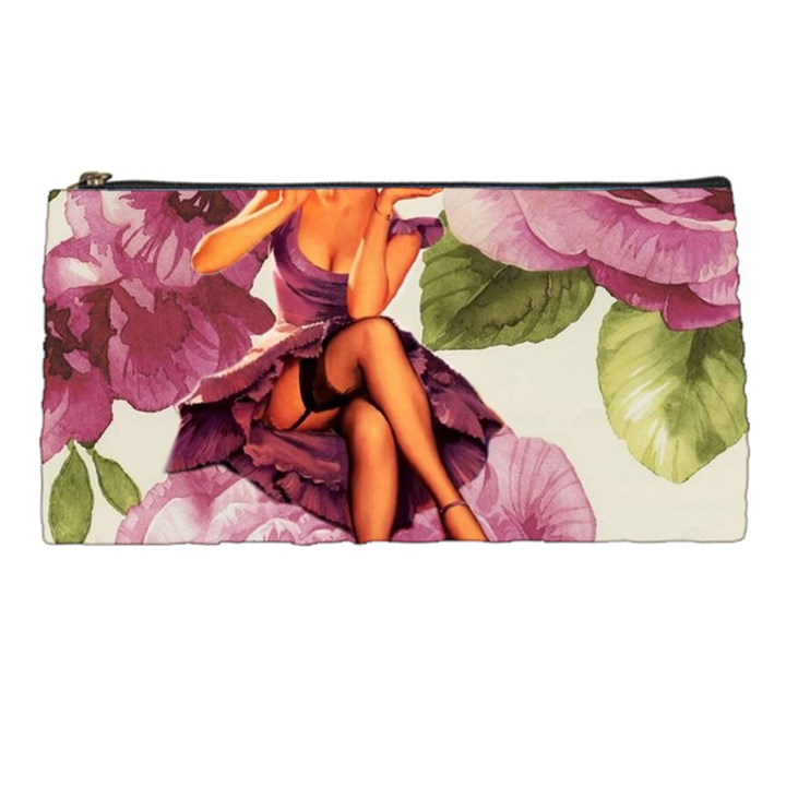 Cute Purple Dress Pin Up Girl Pink Rose Floral Art Pencil Case