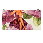 Cute Purple Dress Pin Up Girl Pink Rose Floral Art Pencil Case Back