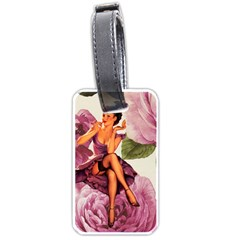 Cute Purple Dress Pin Up Girl Pink Rose Floral Art Luggage Tag (two Sides) by chicelegantboutique