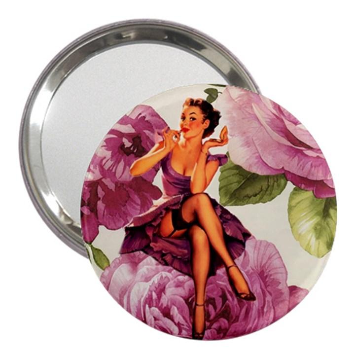 Cute Purple Dress Pin Up Girl Pink Rose Floral Art 3  Handbag Mirror